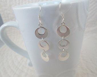 Sterling Silver Earrings 1970s Disco Earrings Dangle Earrings