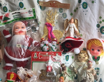 FREE SHIPPING! Amazing vintage lot of 20 Destach Christmas Kitsch decorations & ornaments