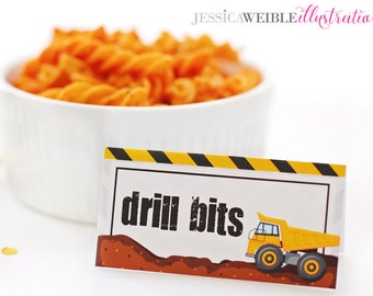 Dump Truck Construction Theme Printable Tent Cards, BLANK Food Label Tents, Printable Construction Buffet Table Cards, Party Printables