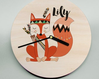 Unique Personalised Wall Clock / Childs Clock / Name Clock / Cute Clock / Fox