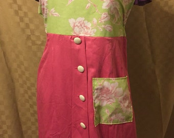 Women's Upcycled Green and Pink Floral Apron