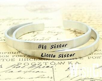 Big Sis Lil Sis Cuff Bracelets - Little Sister Big Sister Gift - Aluminum Bracelets - Besties, Gifts for Sisters, Family Bracelet