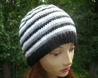 Striped Hand Knit Hat Original Design Black Gray White Beanie
