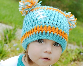 Crocheted Baby Miami Dolphins Football Beanie/ Baby Dolphins Hat/ Miami Game Day Hat/ Toddler Miami Dolphins