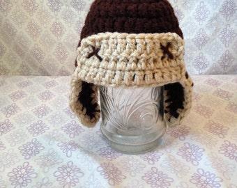 Crochet Aviator Hat, kids earflap hat