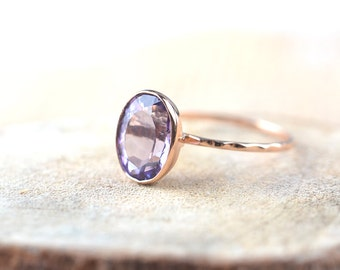 Amethyst Ring - 18k Solid Rose Gold Ring - February Birthstone - Made To Order