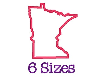 6 SIZES Minnesota State Applique Embroidery Machine Embroidery State Applique Embroidery Design Instant Download