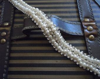 Ivorh pearl and rhinestones headband / bridal headband, wedding headpiece, bridal accessories