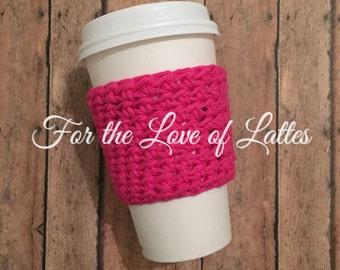 Cotton crochet coffee sleeve, hot pink coffee sleeve, coffee cozy, reusable coffee sleeve