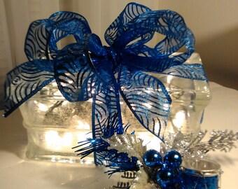 Blue Bliss, lighted glass gift block,
