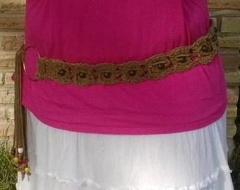 Crochet suede beaded hip belt