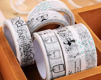 Random Kawaii Masking Tape Black White Deco
