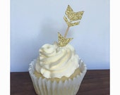 Glitter Arrow Cupcake Toppers (Set of 12) Pick Your Color! Baby Shower Cupcake Toppers, Birthday Cupcake Toppers