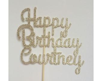 Personalized Name Cake Topper, Birthday Cake Topper, Glitter Birthday Cake Topper