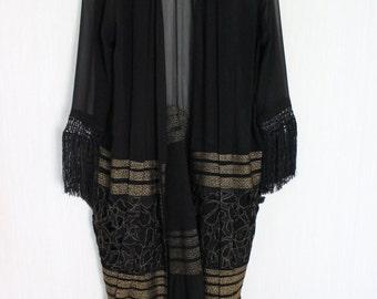 Black and gold fringe gipsy kimono
