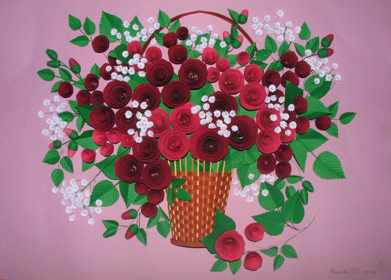 Paper Quilling Rose Flower Basket