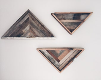 Reclaimed wood triangle decor
