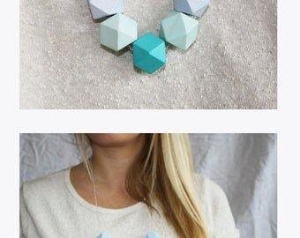 Geometric pastel wood necklace