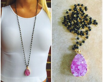 Hot Pink Natural Agate Pendant Necklace