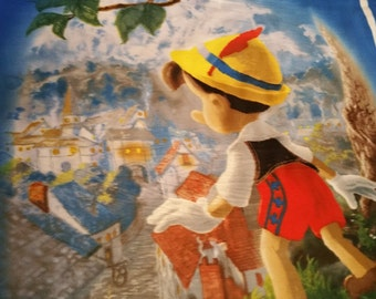 "Fleece Panel ""Pinocchio Wish Upon a Star""- Official Disney Dream Collection by Thomas Kinkade"