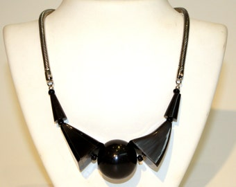 Black Galalith necklace Jakob galalith kid black necklace Jakob kid - 1930s