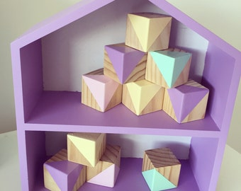 Handmade Wood Baby Blocks Nursery Decor