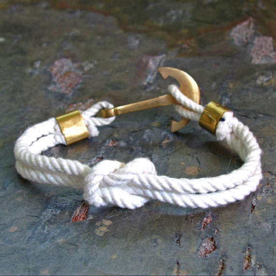 Men 39 s nautical rope bracelet white cotton rope with for Heavy rope for nautical use