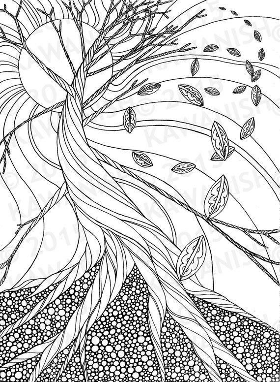 dead tree autumn zentangle adult coloring page gift wall art