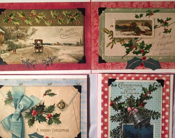 vintage Christmas cards from post cards - set of 4