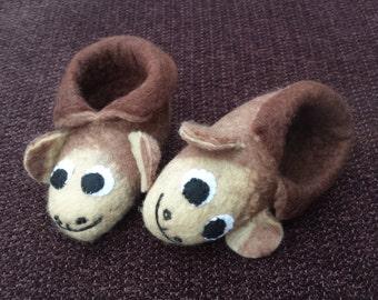 Felt booties - Mervyn the Monkey
