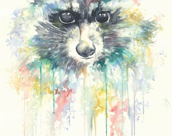 Watercolour Racoon Print
