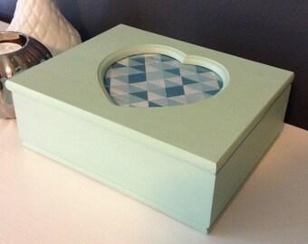 Mint geometric heart jewelry box - Vintage Upcycled