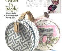 Round Luggage 60's retro for 18 inch Doll Pattern American Girl Our Generation Travel Suitcase Luggage tag Tutorial Appletotes & Co.