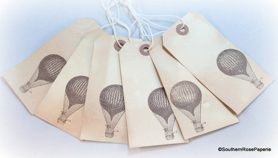 Balloon Tag: Hot Air Balloon Gift Tags Tea Stained Gift Tags Vintage