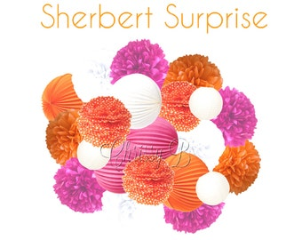 Hot Pink and Orange Deluxe Party Decorations - Accordion Lantern & Tissue Pom Kit - SHERBERT SURPRISE theme - Pink and Orange Party Decor
