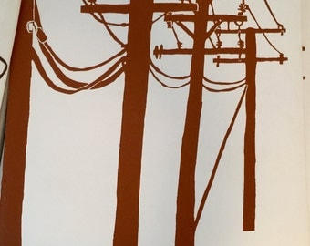 Vintage Telephone Poles original Gail Holliday screenprint, Columbia, MD 1967