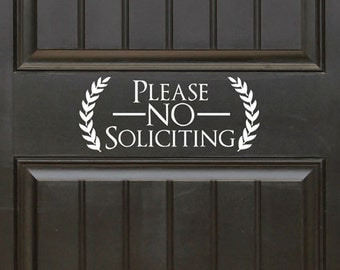 Please No Soliciting Vinyl Decal Sticker Label Solicitors Sign Trespassing - WHITE (FREE SHIPPING!!!)