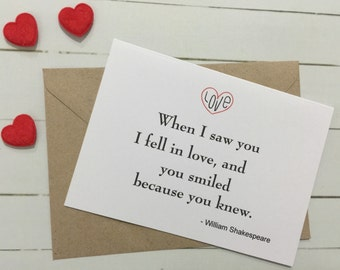 When I saw you I fell in love, and you smiled because you knew. Wedding day card to the bride from the groom or to groom.