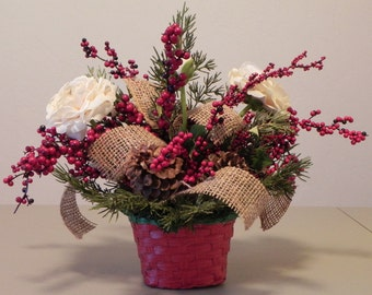 Country Christmas Silk Flower Arrangement