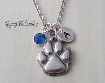 Dog Paw Necklace - Dog Paw Charm - Personalized Initial and Birthstone - Antique Silver Pewter Jewelry