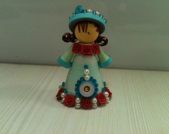 Paper Quilled Doll, Quilling Doll handmade, Paper Quilling