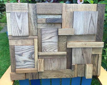 Harbour. Wood wall art, three dimensional ash and oak on birch ply, finished with brown & gold oils. Handmade in Cornwall