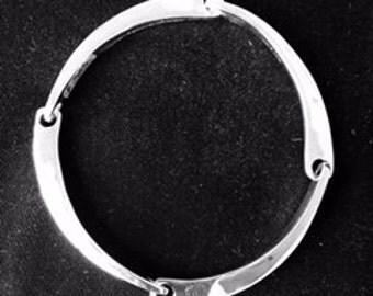 Man's fishbone bracelet in sterling silver