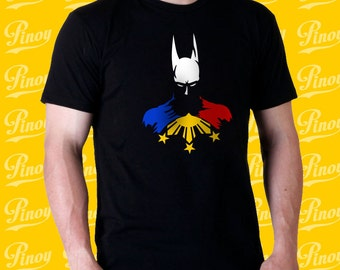 Philippine Hero Batman wiht 100% cotton black t-shirt with Filipino Flag