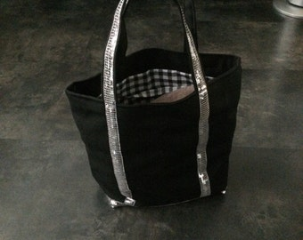 Silver glitter black tote bag