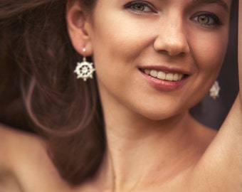 silver lace jewelry. The steering wheels earrings with top look made from 925 Silver.