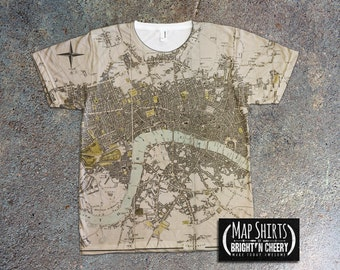 London Antique Map T Shirt, London England Travel Shirt, London Fashion, All Over Print, Cool Vintage Map Shirt, Unique Gift, Urban Design