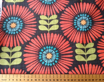 """Michael Miller Hashmark  """"Fringe Flowers"""" with Dark Grey background and flower design. 100% cotton patchwork and quilting fabric."""