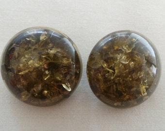 Earrings - earrings vintage Lanvin Crystal resin tinted
