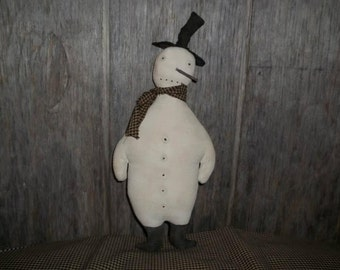 Primitive handmade Snowman With Stick Nose~Tuck~Christmas~Winter